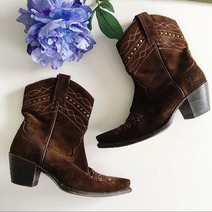 Frye Brown Suede Cowboy Booties